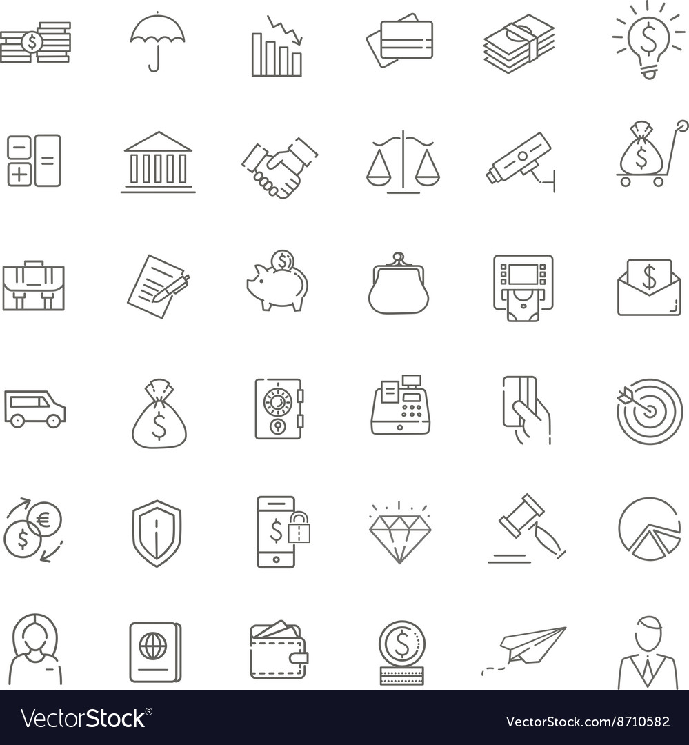 Thin line web icon set  money finance payments vector