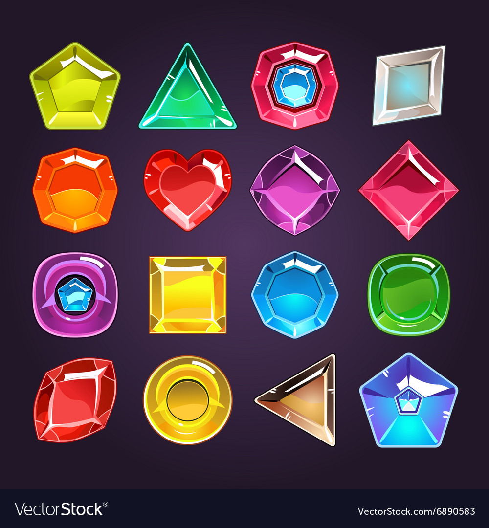 Cartoon colored stones with different shapes for vector