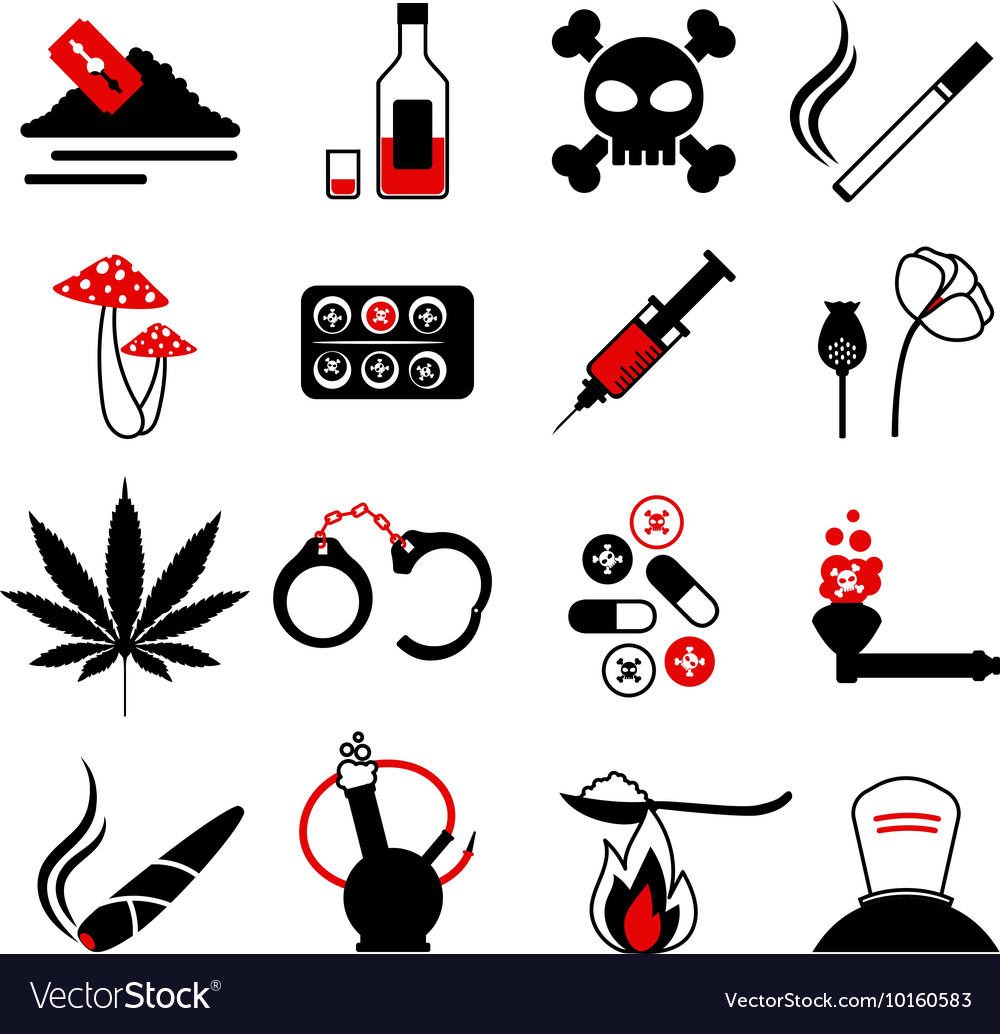 Drugs and alcohol addiction icons vector