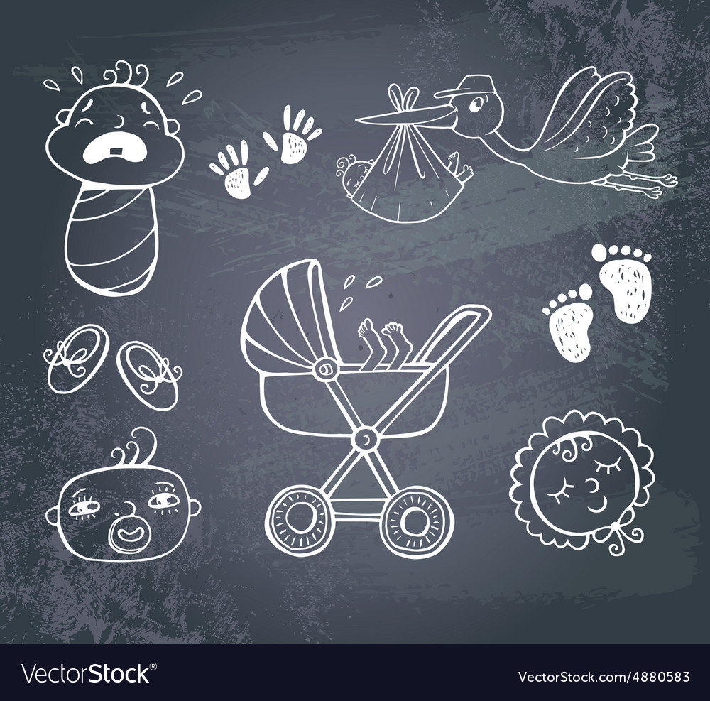 Infant icon set vector