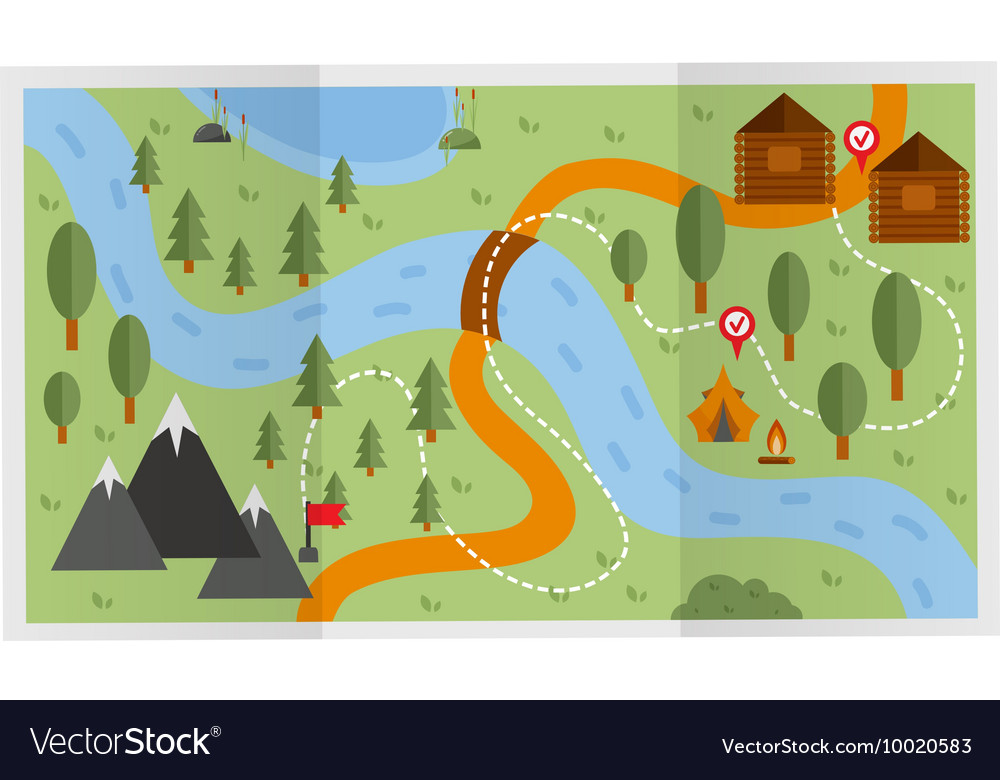 Travel route map vector