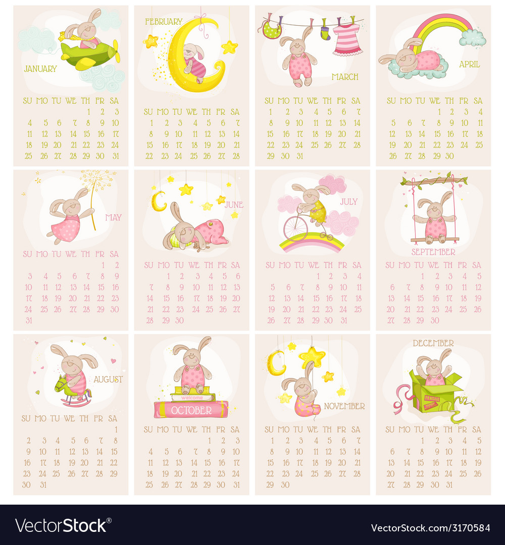 Baby bunny calendar 2015  week starts with sunday vector