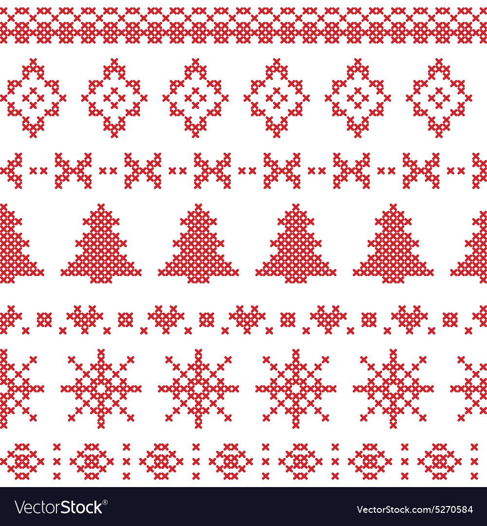 Nordic pattern with christmas elements stitched vector