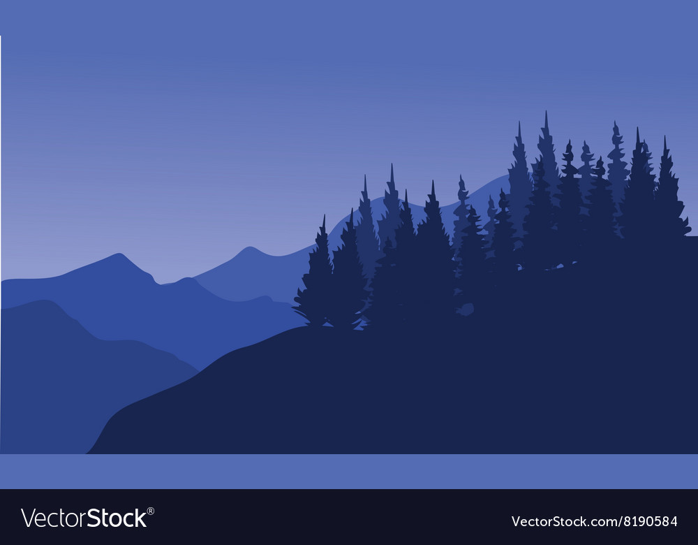 Silhouette of forest spruce vector