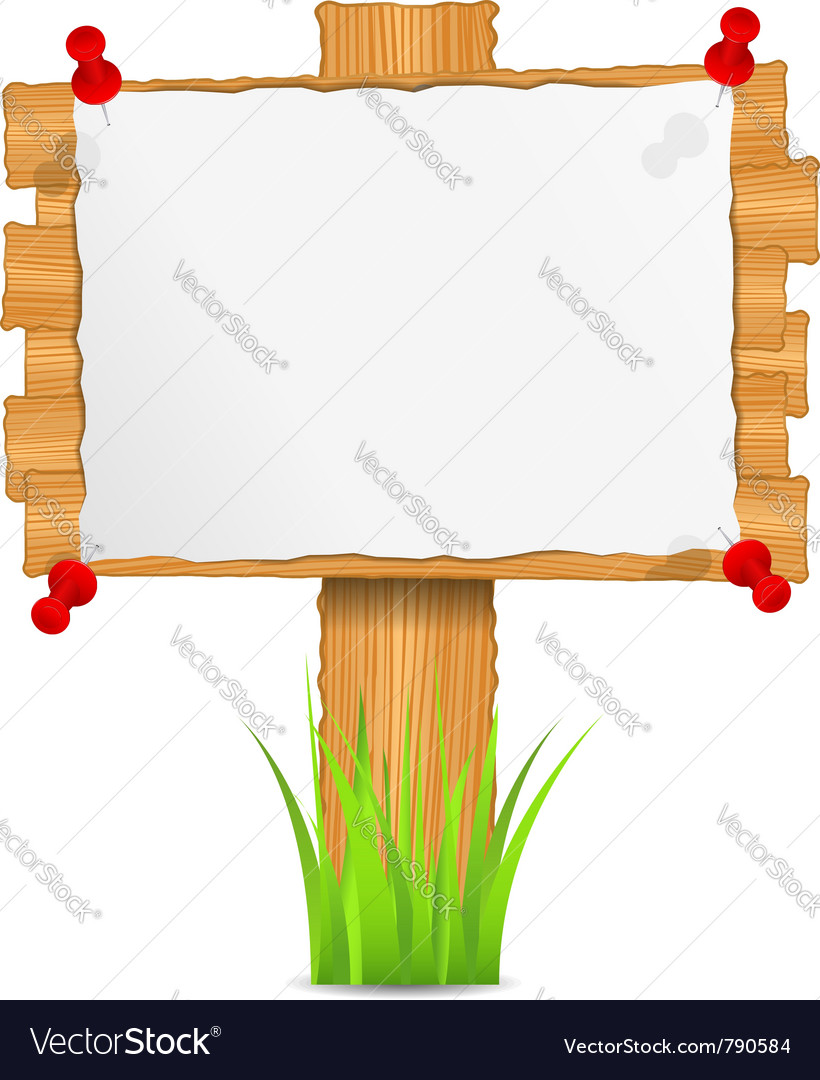 Wooden board with attached paper vector