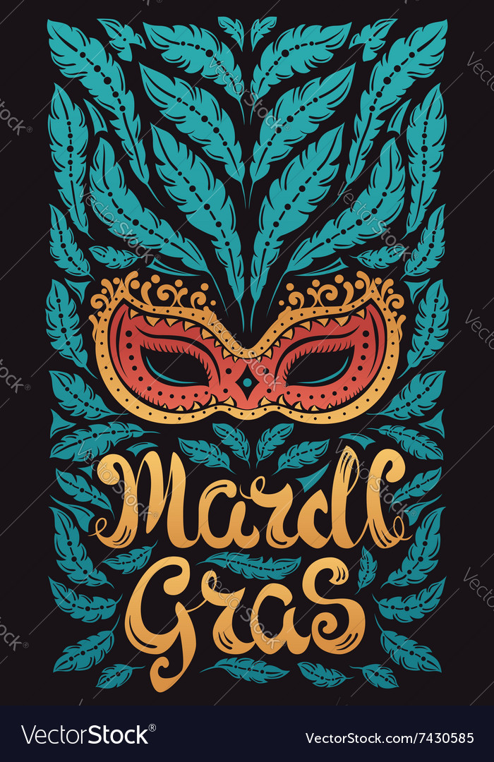 Mardi gras celebration poster with venetian mask vector