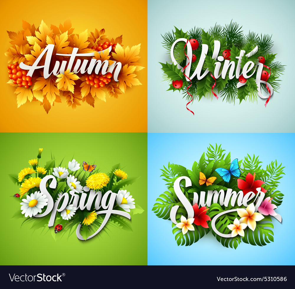 Four seasons typographic banner vector