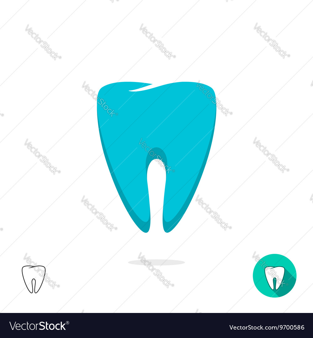 Tooth logo symbol isolated flat outline vector