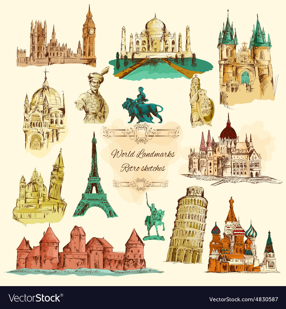 World landmarks sketch vintage icons set vector