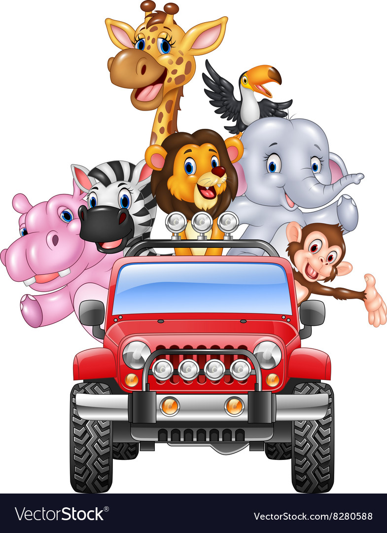 Happy holiday animal africa in the red car vector