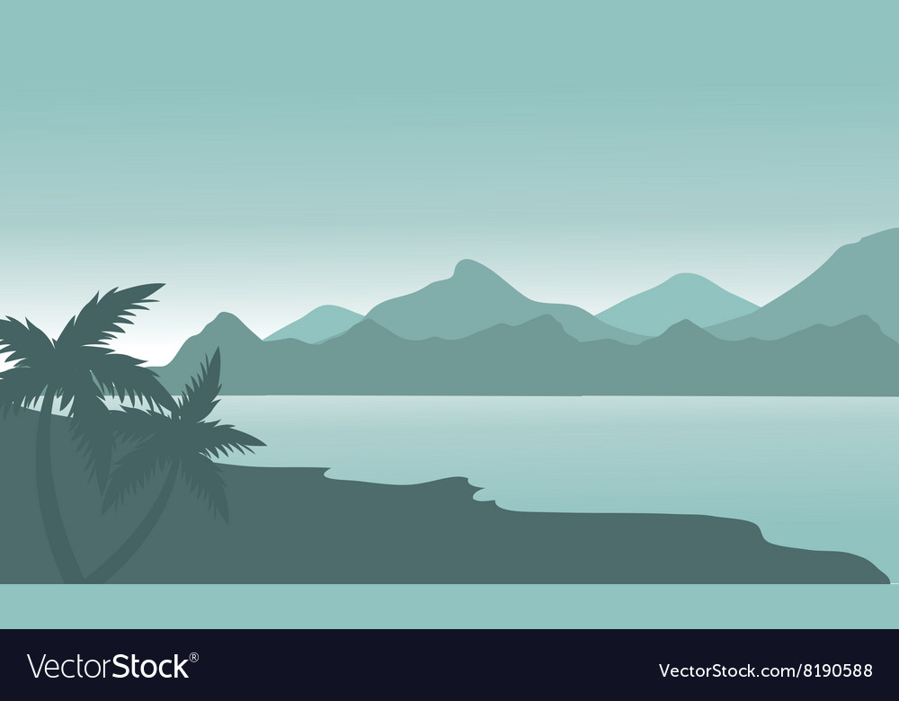 Silhouette of beach and mountain vector