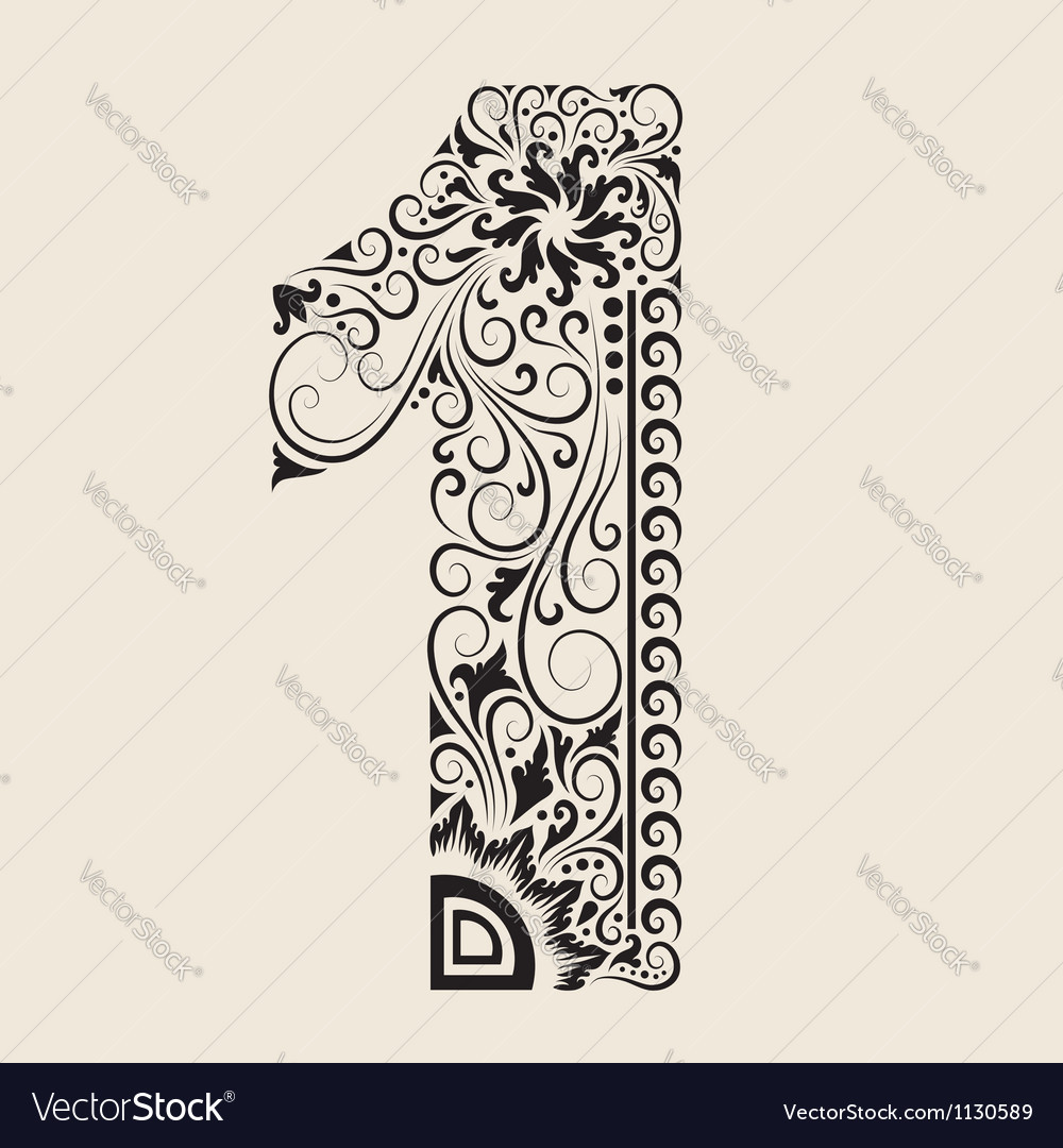 Number 1 floral decorative ornament vector