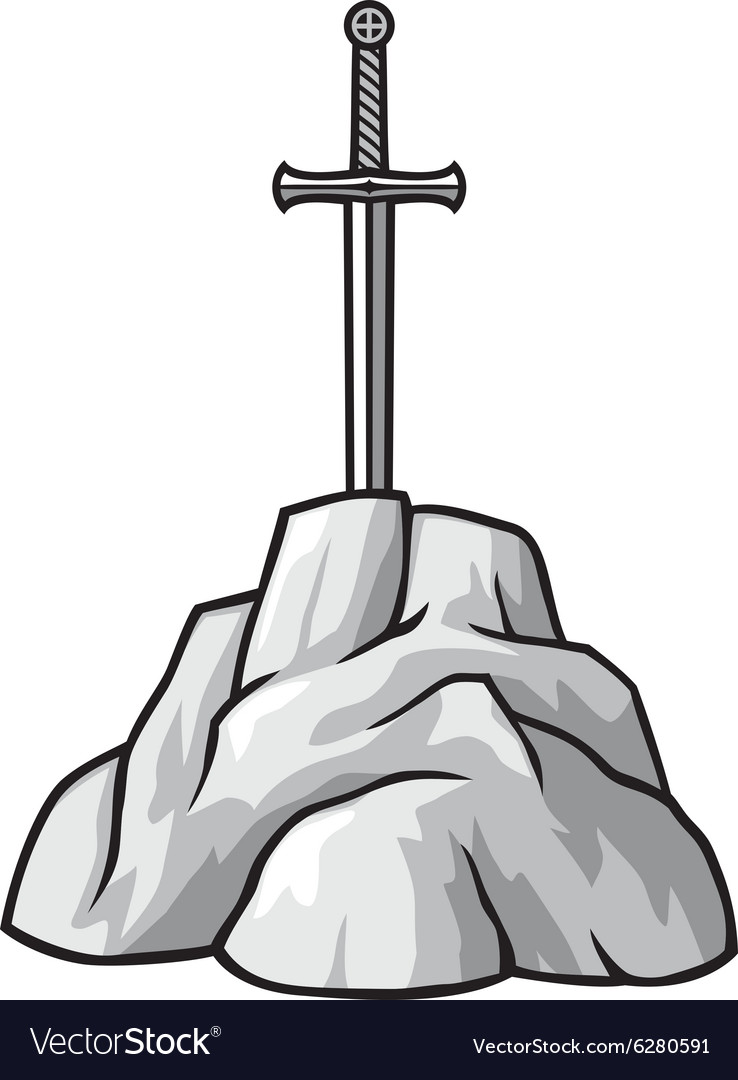 Exaclibur sword in stone vector