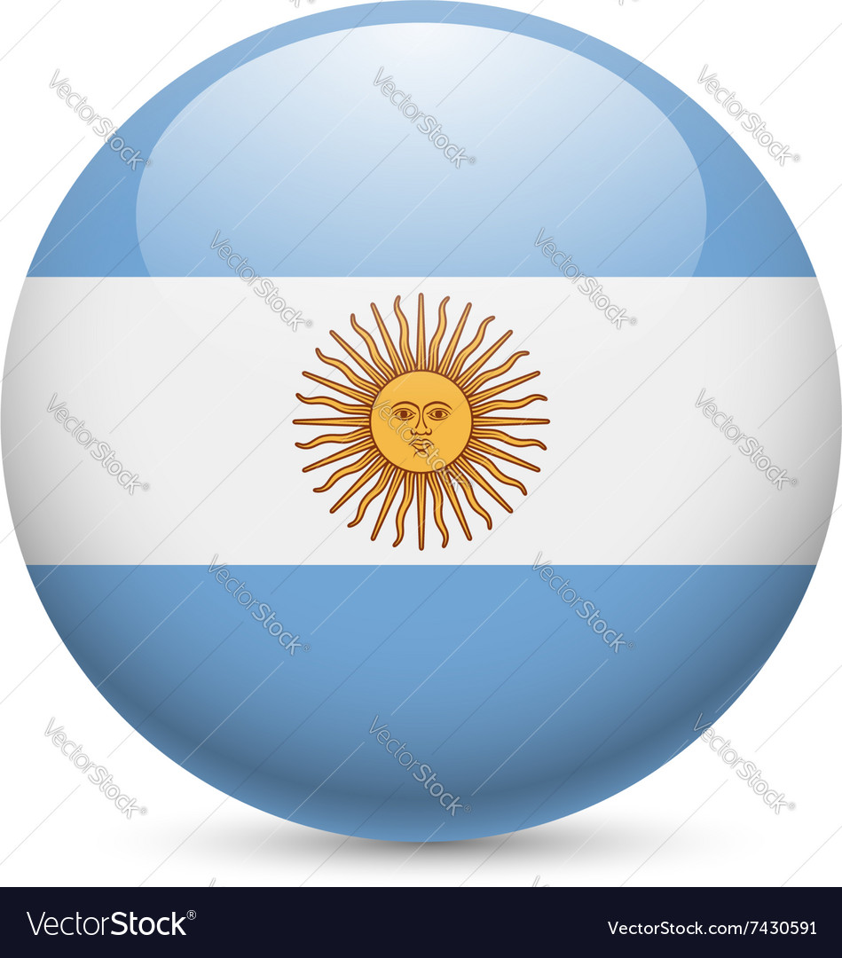 Round glossy icon of argentina vector