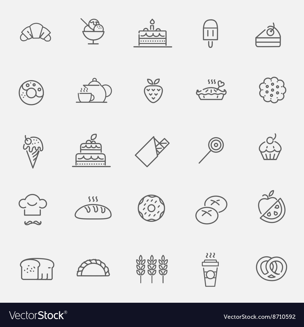 Bakery pastry icons set  bread donut cake vector