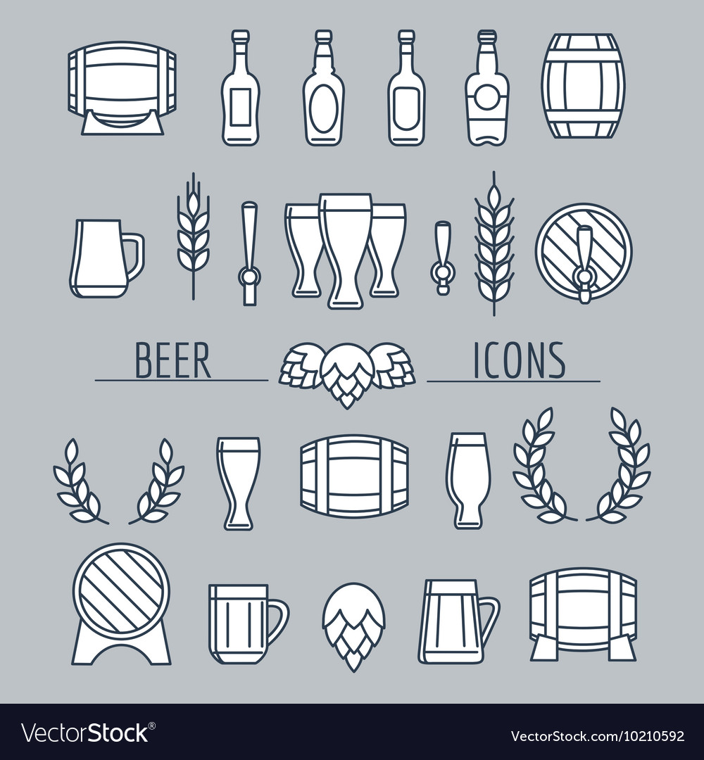 Beer icons set isolated on grey vector