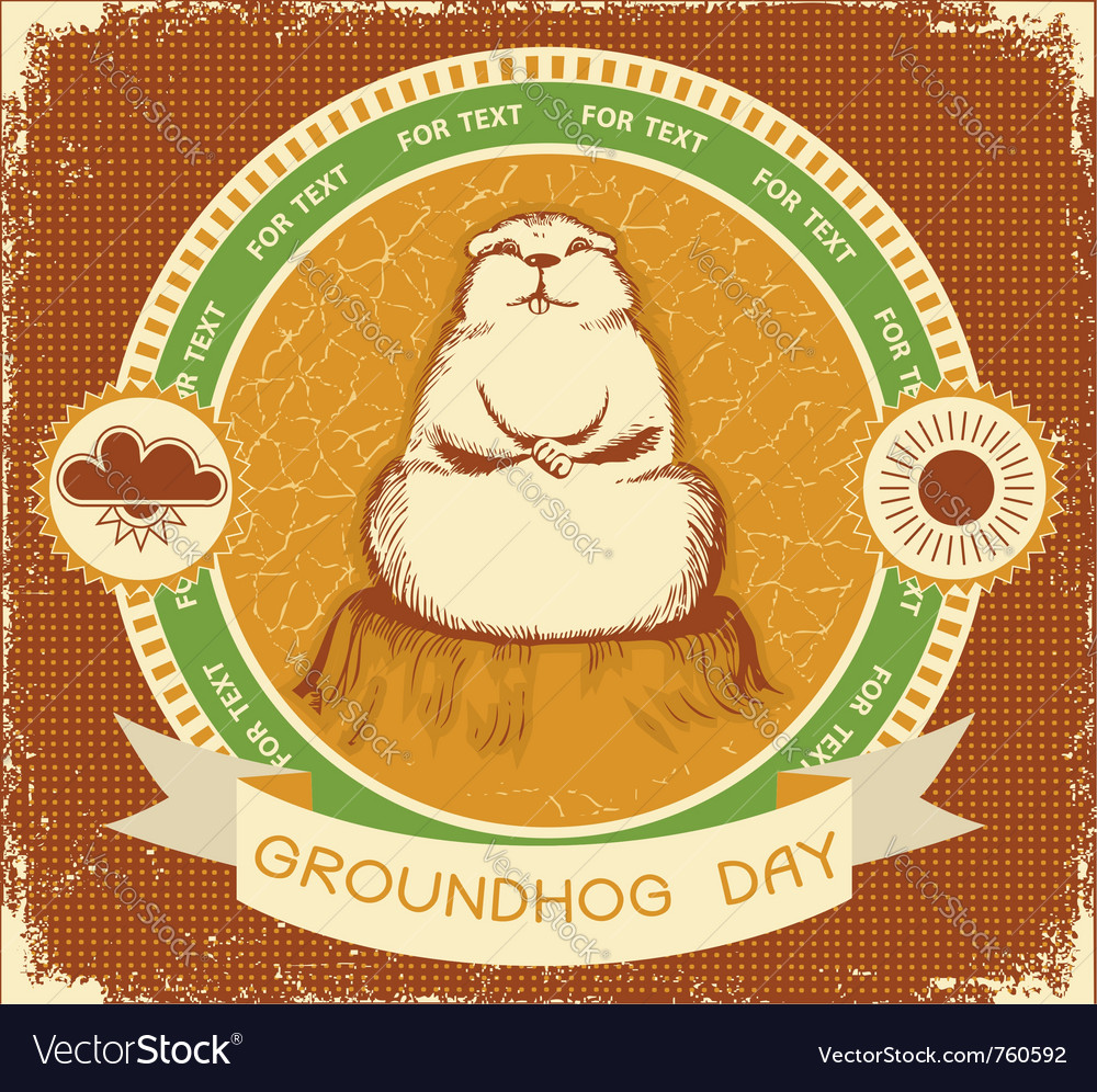 Groundhog day label vector