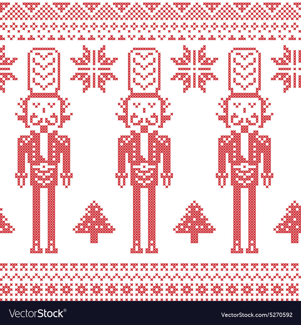 Scandinavian nordic pattern with nutcracker vector