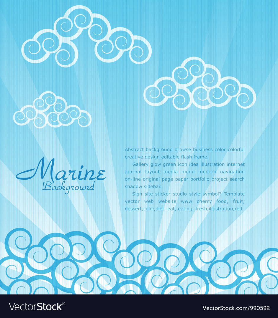 Sea background with waves and clouds vector