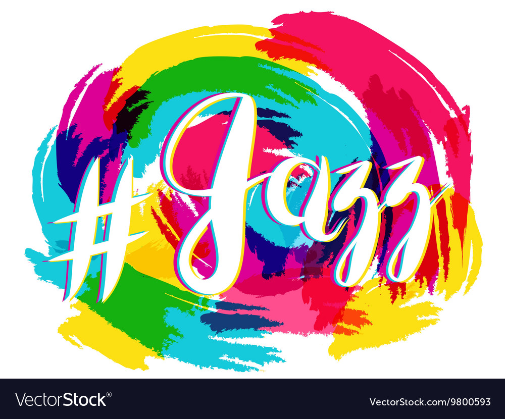 Hashtag jazz lettering on spot background yellow vector