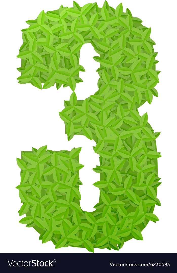 Number 3 consisting of green leaves vector