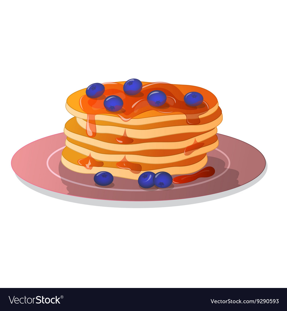 Pancakes on plate with blueberries and honey vector
