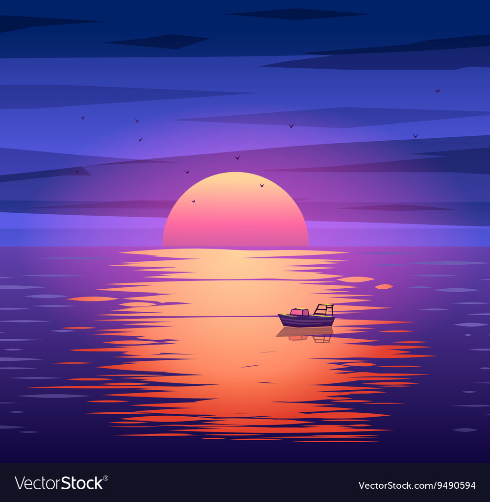 Fishing boat sunset background concept vector