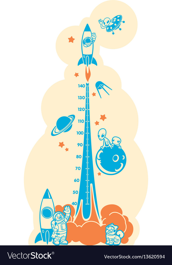 Height charts space adventure meter wall or vector