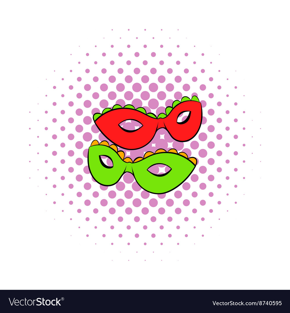 Carnival masks icon comics style vector