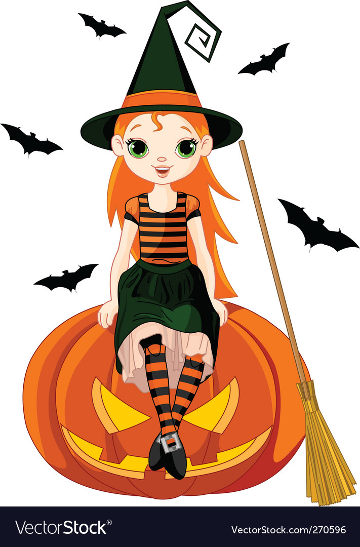 Little halloween witch on pumpkin vector
