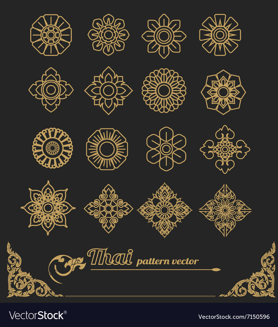Set of thai ornament design and icon flower vector