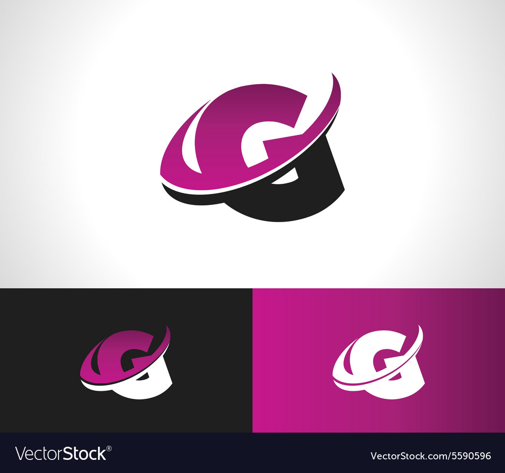 Swoosh alphabet icon g vector