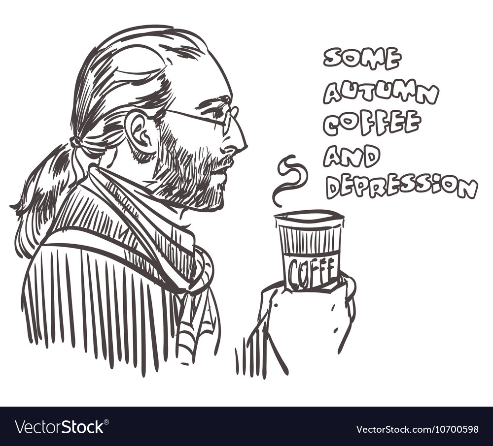 Closeup portrait of man with coffee with signature vector
