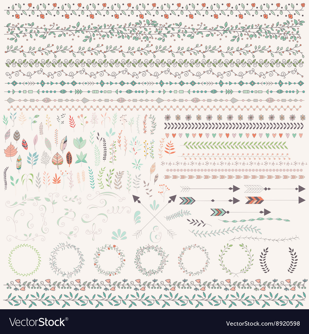 Hand drawn leaves arrows feathers wreaths vector