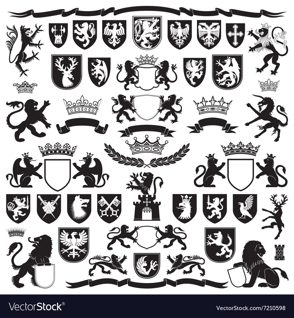 Heraldry symbols and decorative elements vector