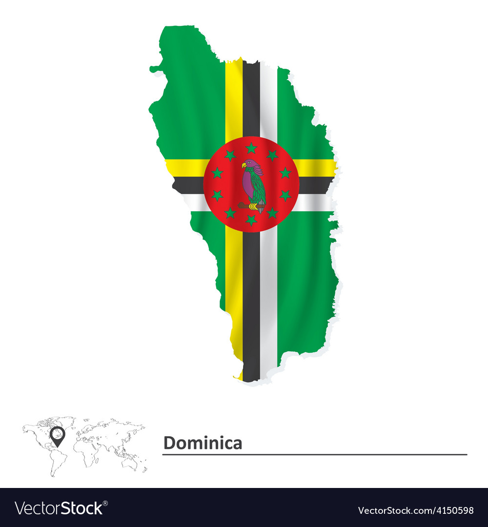 Map of dominica with flag vector