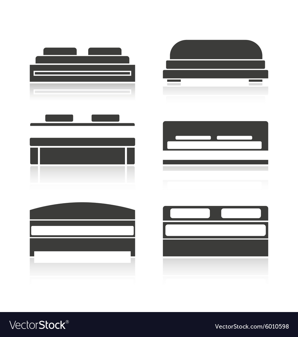 Set of black silhouettes bed vector