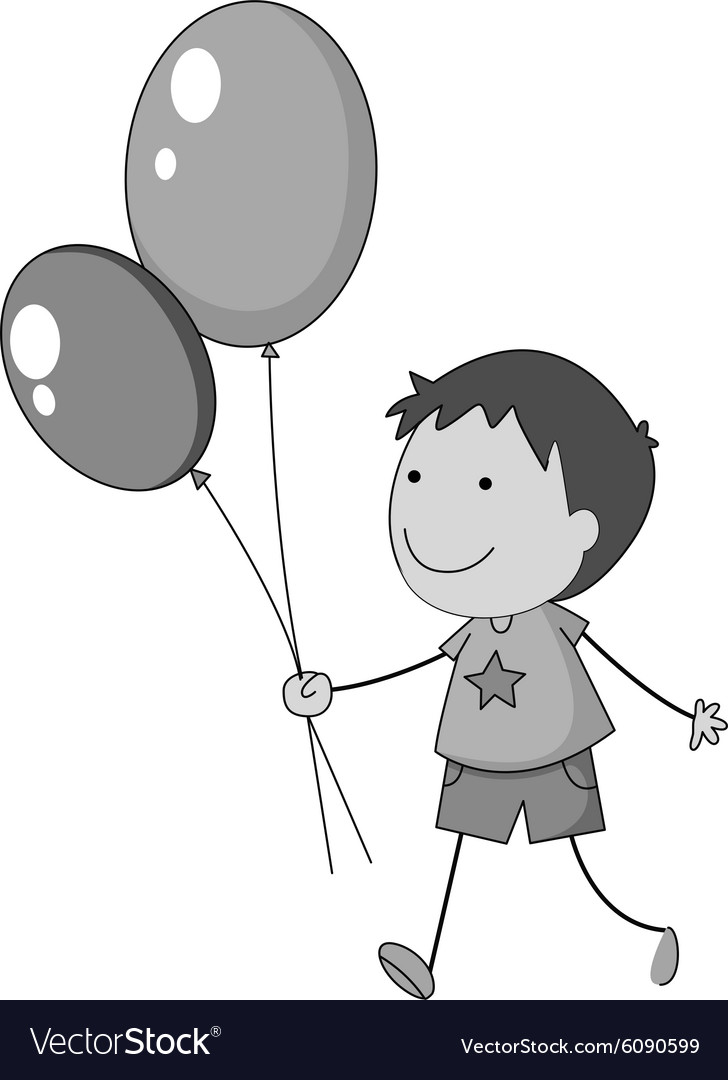 Boy holding balloons in hand vector