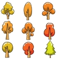 Autumn tree set on doodles vector image