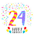 happy birthday for 24 year party invitation card vector image