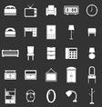 Bedroom icons on black background vector image vector image