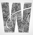 Letter W from doodle alphabet vector image
