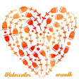 watercolor hand drawn wreath with flowers hearts vector image