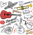 Music Instruments Set Hand Drawn Sketch Isolated vector image