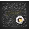 Cup tea with lemon Chalkboard hand drawing vector image