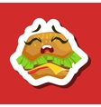 Upset Burger Sandwich Cute Emoji Sticker On Red vector image