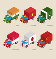 Set of isometric cargo trucks with flags vector image