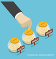 isometric businessman hand put coin into family vector image