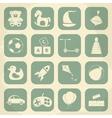 Retro children toys icon set vector image