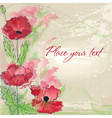 background with poppies in watercolor effect vector image